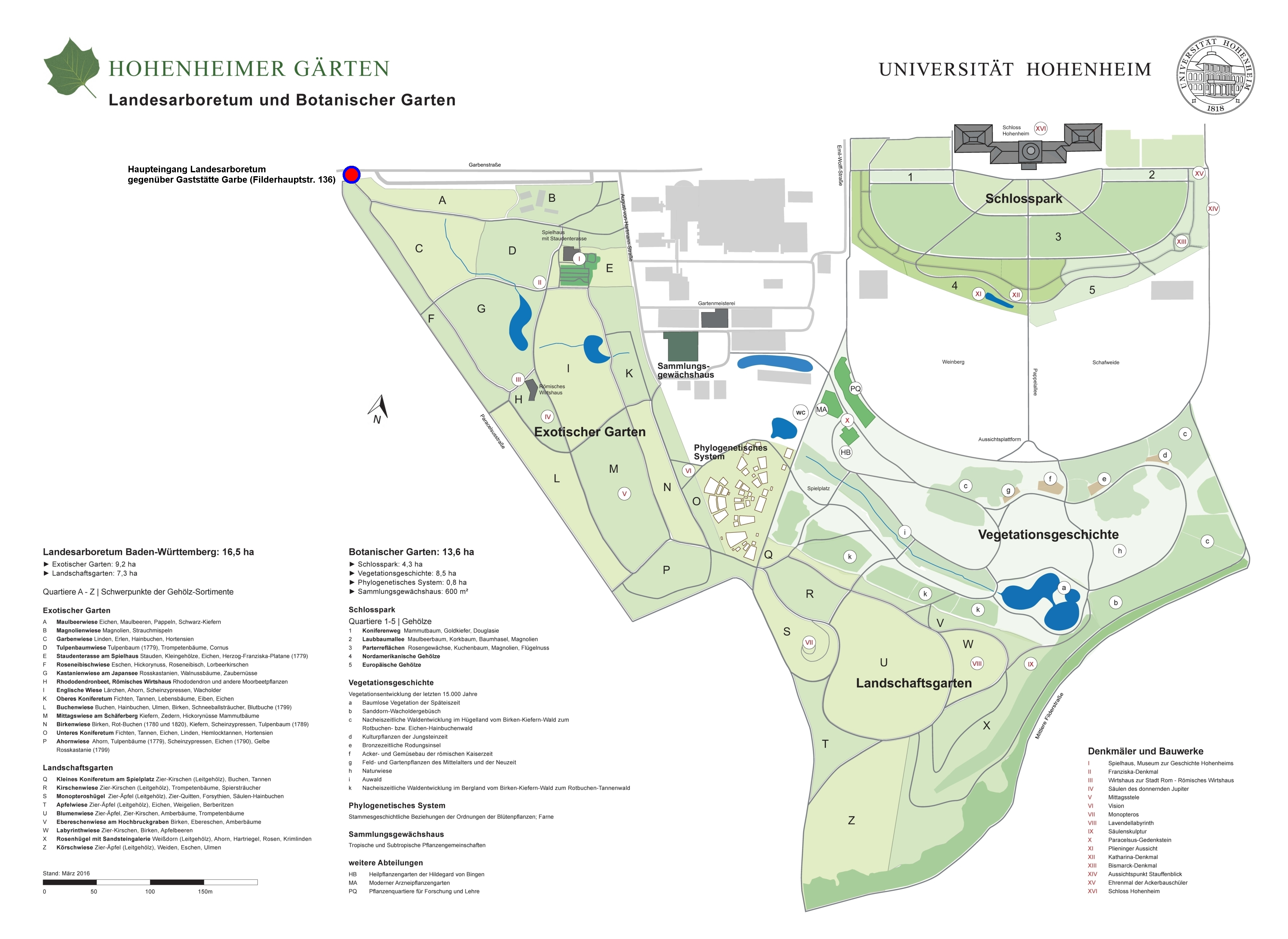Gartenplan  Botanischer Garten: Hohenheimer Gärten